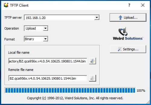 Upload UniFi Firmware with TFTP