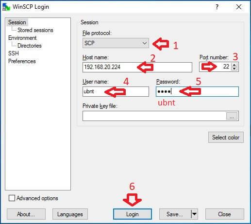 UniFi WinSCP