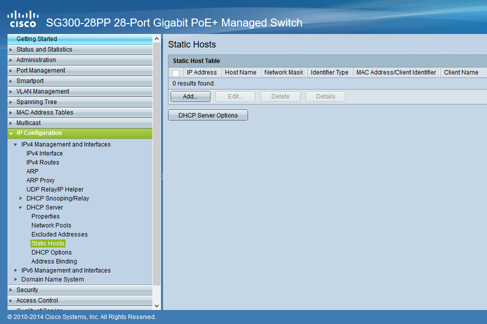 DHCP Server Static Hosts