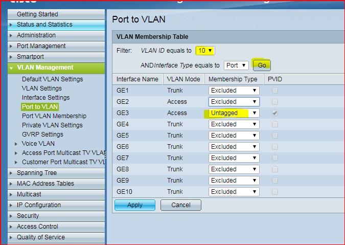 Cisco 300 port to VLAN