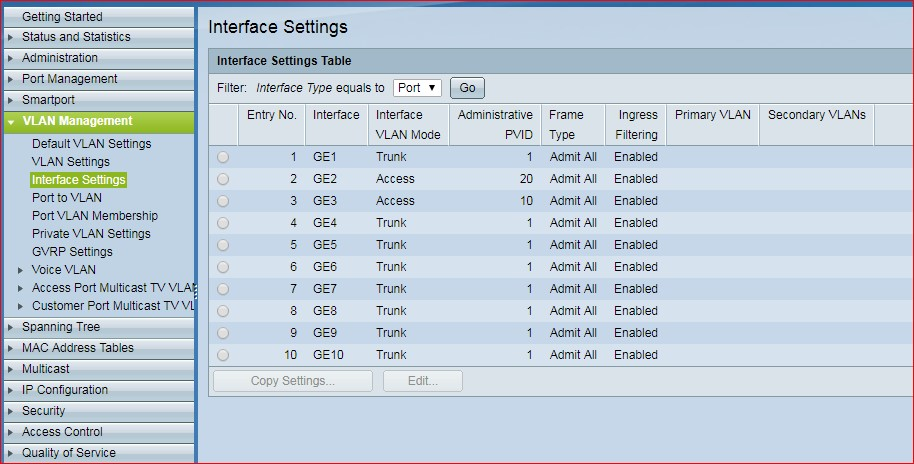 Cisco Interface Settings Table