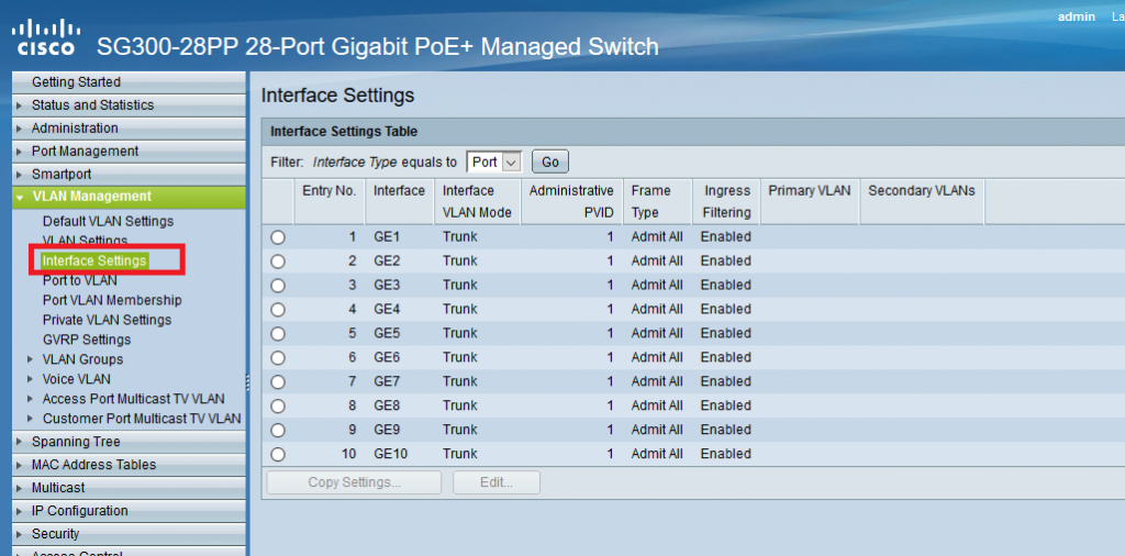 نمایش پورت های سوئیچ در Interface Setting سوئیچ های سیسکو Small Business