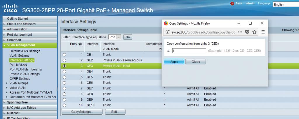 کپی کردن تنظیمات یک پورت برای پورت دیگر در تنظیمات Private VLAN برای سوئیچ های سیسکو Small Business