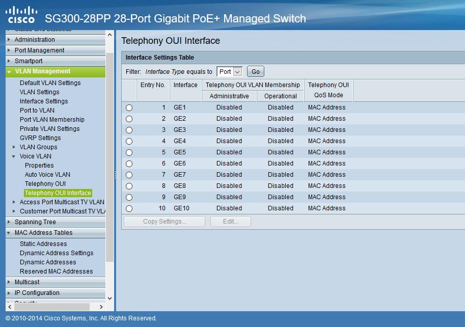 تنظیمات Telephony OUI Interface در Voice VLAN برای سوئیچ های سیسکو Small Business