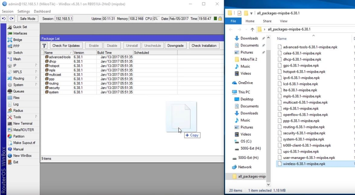 Drag Mikrotik Package to the Router