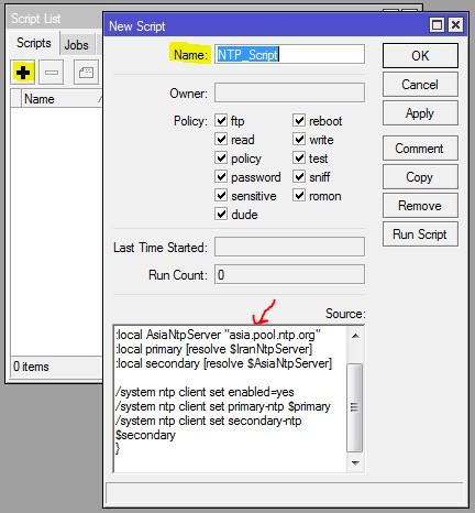 Mikrotik NTP Script