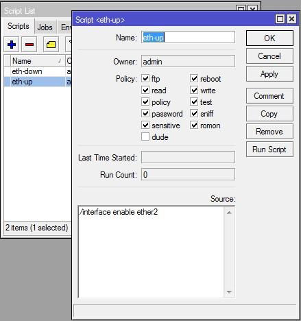 ایجاد اسکریپت eth-up در روتربرد میکروتیک