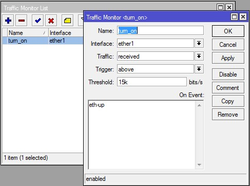 ایجاد مانیتور turn_on در traffic monitor روتربرد میکروتیک