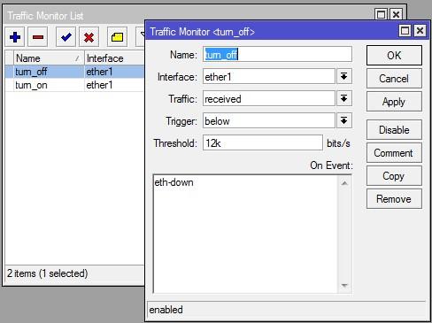 ایجاد مانیتور turn_off در traffic monitor روتربرد میکروتیک